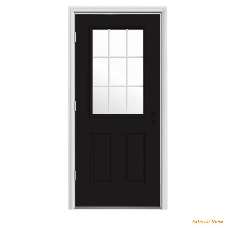 Jeld Wen 36 In X 80 In 9 Lite Black Painted Steel Prehung Right