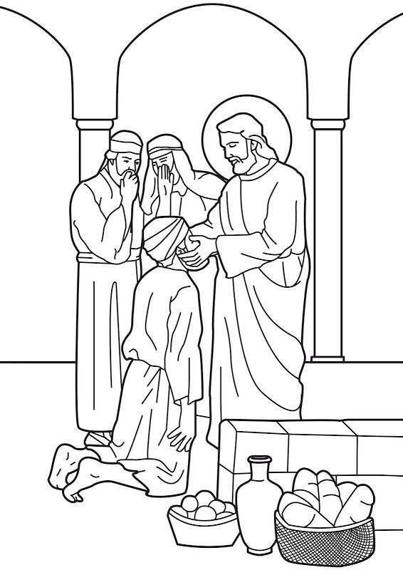 Jesus Heals The Man Born Blind Bible Coloring Page Bible