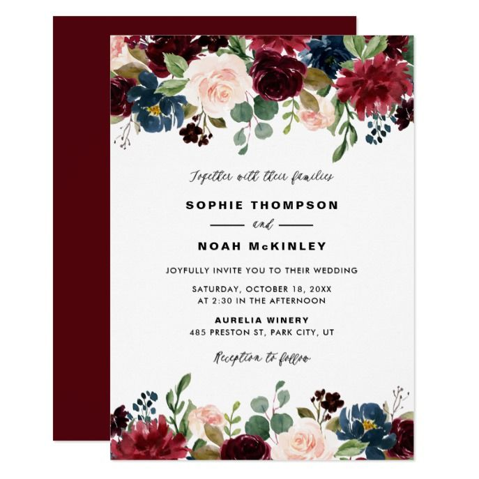 Burgundy and Blue Floral Garland Wedding Invitation ...