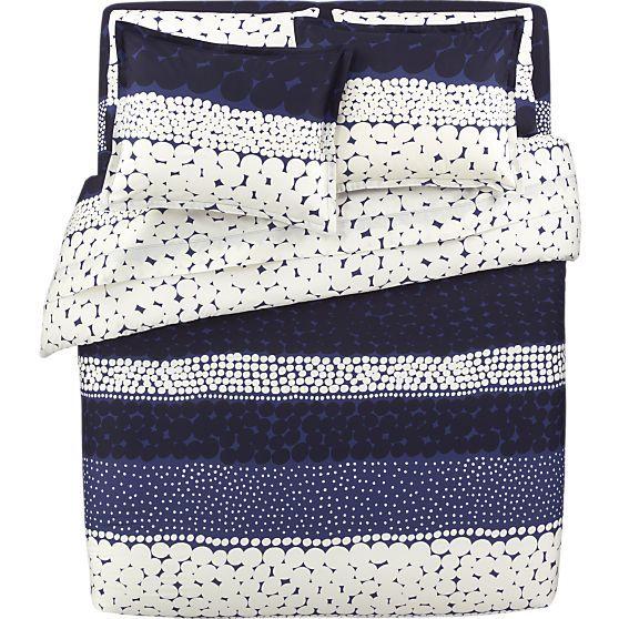 Marimekko Jurmo Blue Twin Duvet Cover In Duvet Covers Crate And Barrel Blue Bedding Blue Sheet Sets Blue Linen Bedding