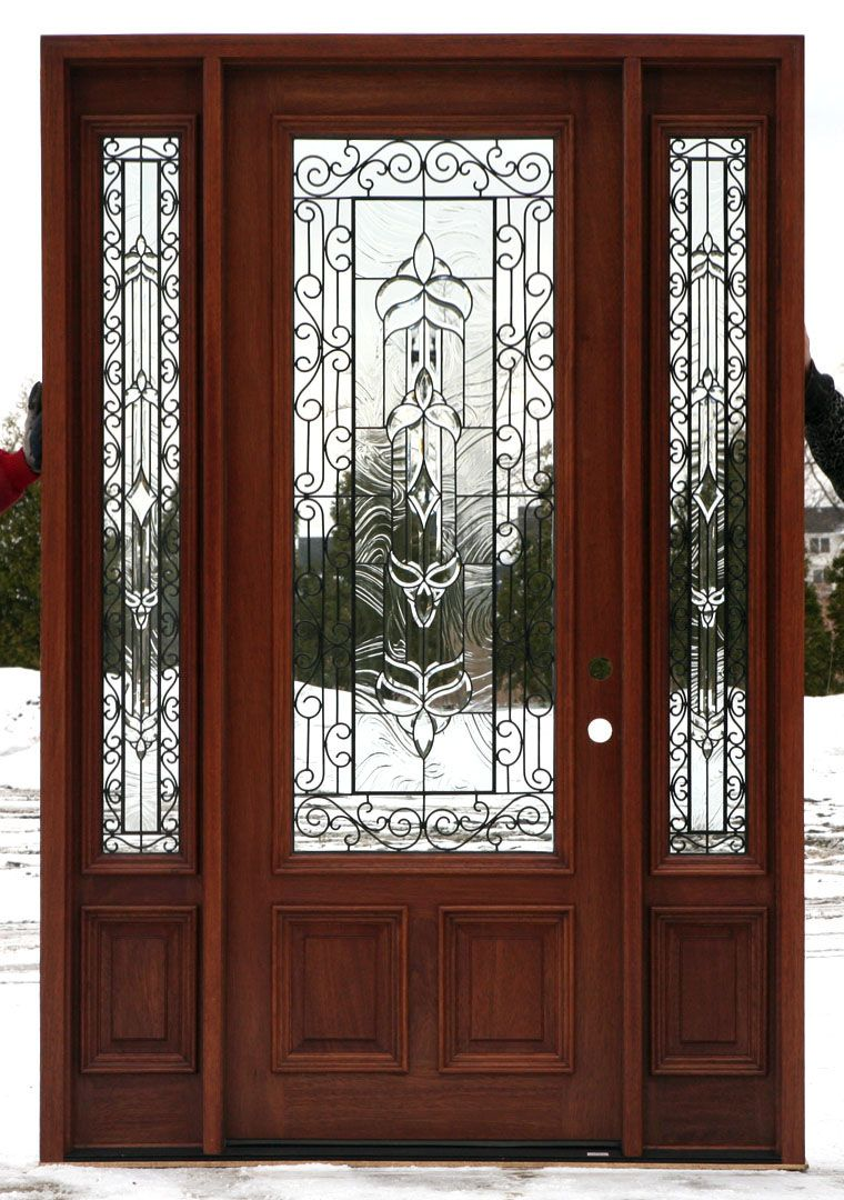 Exterior doors with glass front doors with wrought iron for Exterior kitchen doors with glass