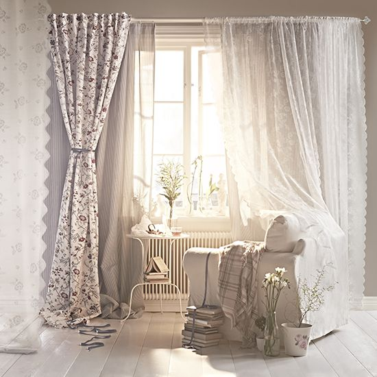 Country Homes And Interiors Days Room Romantic Living With Floral Curtains Floaty Voiles From Ikea