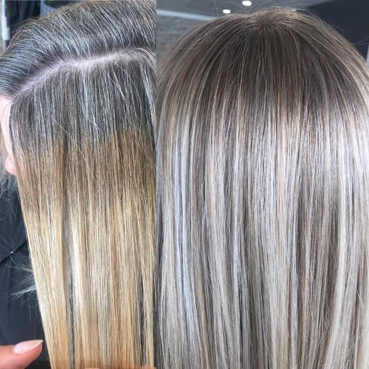 5 Ways Of Blending Gray Hair Without Regular Root Touch Ups Blending Gray Hair Gray Hair Highlights Grey Hair Inspiration