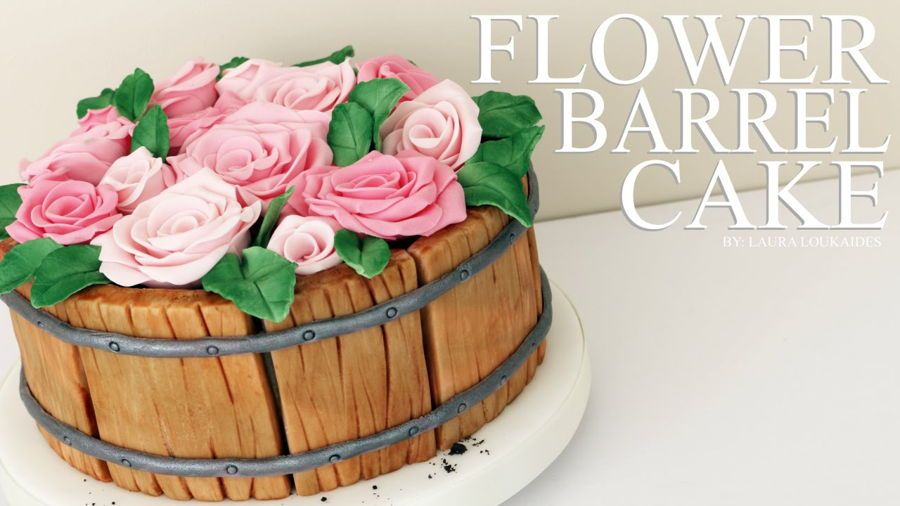 Discover how to make a pretty flower barrel cake step by step! All completely edible (even the dirt!) A perfect cake for birthdays, mother