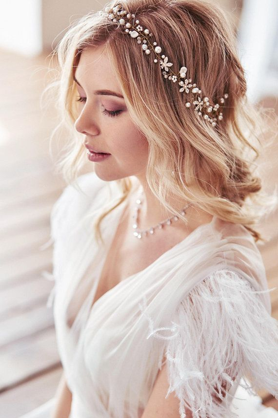 Bridal pearl headpiece Bridal hair vine Bridal hair piece Wedding hair piece Prom hair piece Bridal hair accessories Bridal halo