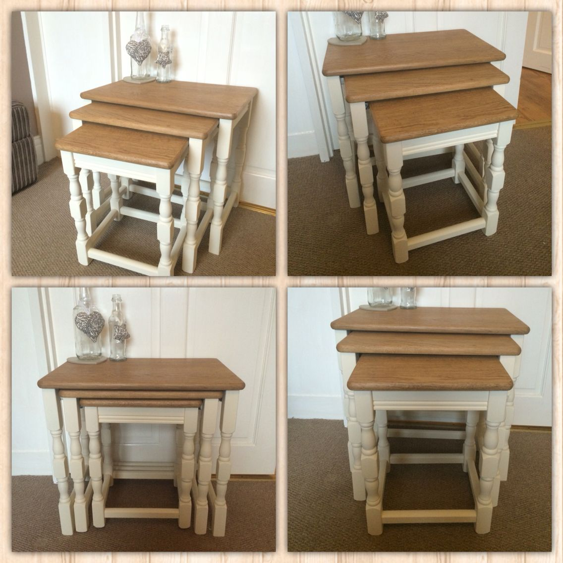 Nest Of Tables Sanded, Varnished And Legs Painted A Light Cream Chalk  Paint, Customer