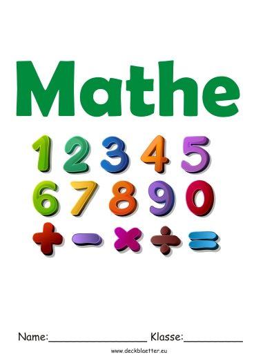 Deckblatt Mathe 4 Deckblätter Pinterest