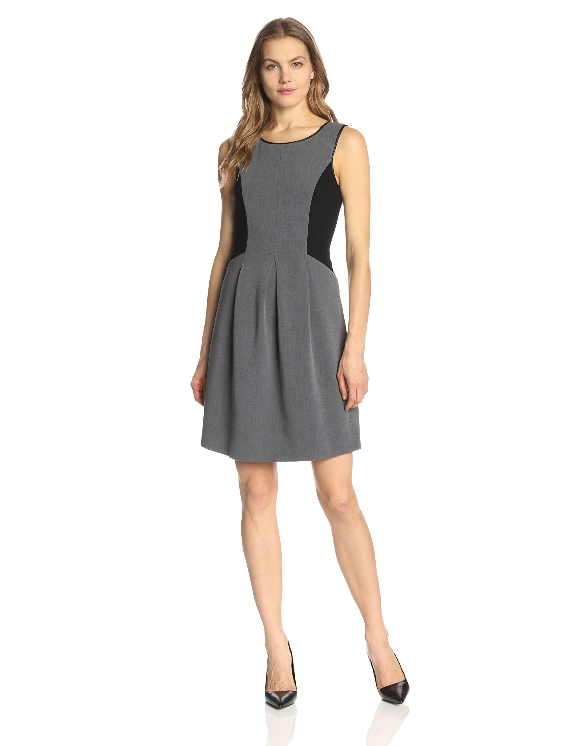 2381183f58d475 Adrianna Papell Women s Sleeveless Skater Dress with Faux Leather Binding  and Sweater Trim