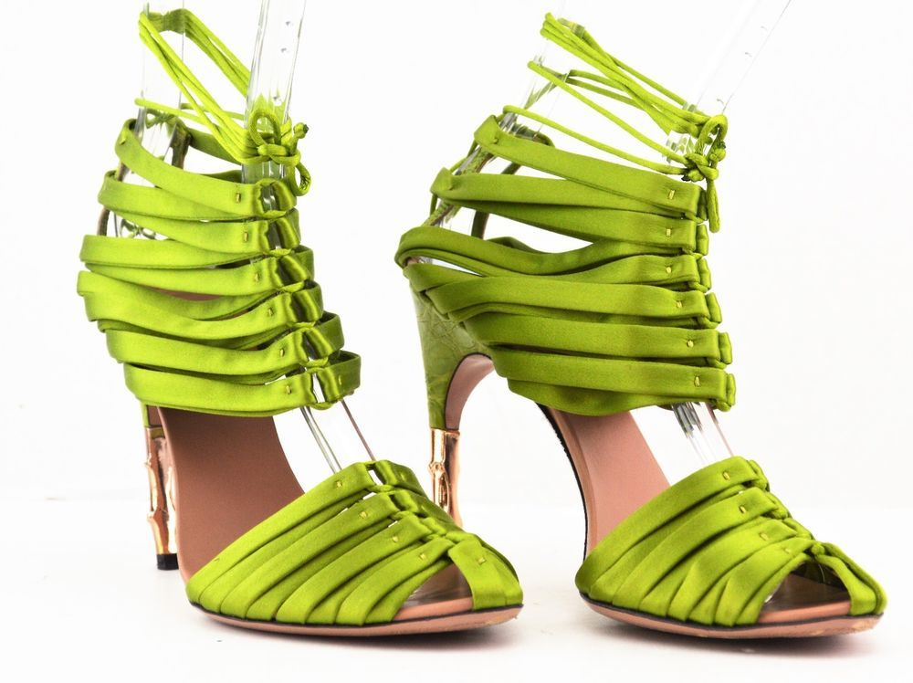 770f2430a27 Gucci Tom Ford Green Corset Crocodile Bamboo Runway Sandals US 8.5 IT 38.5   Gucci  Strappy  Formal