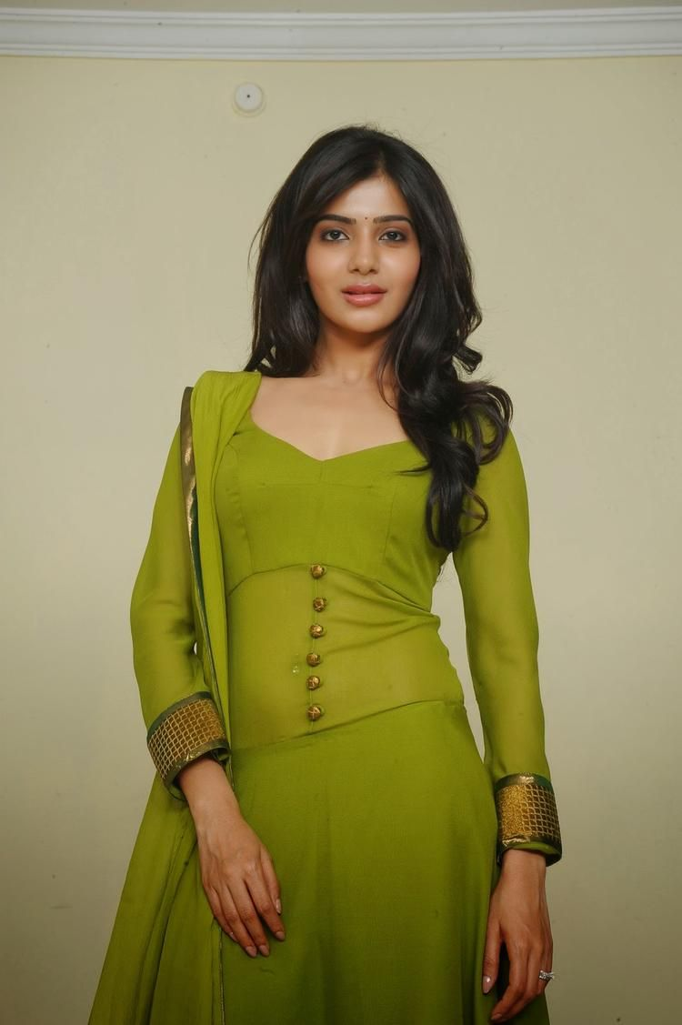 telugu actress samantha in green churidar photo shoot stills