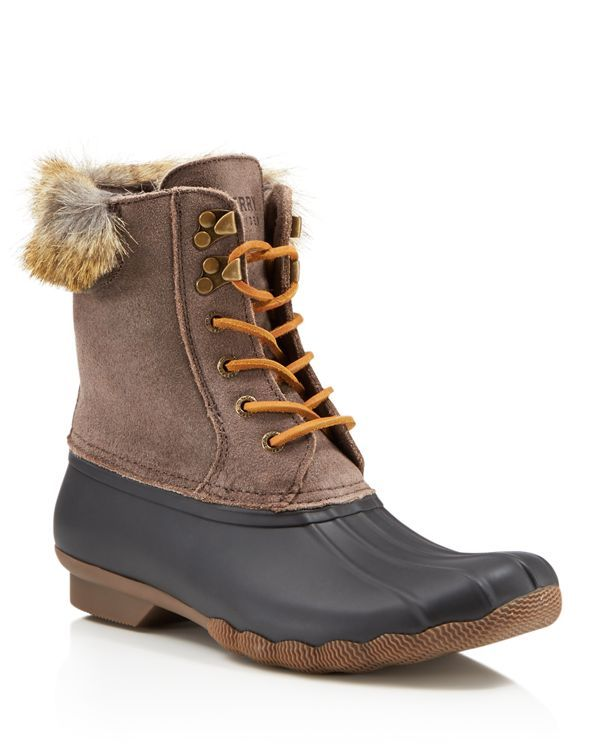 b4545301dd02 Sperry White Water Faux-Fur Lace Up Duck Boots