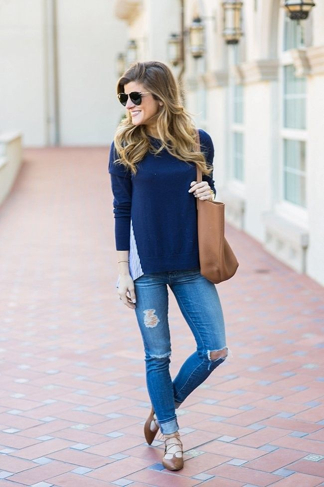 @brightonkeller // BrightonTheDay Blog // Blue Sweater // Distressed Denim Outfit // casual outfit ideas // casual outfit // spring outfit // distressed jeans outfit