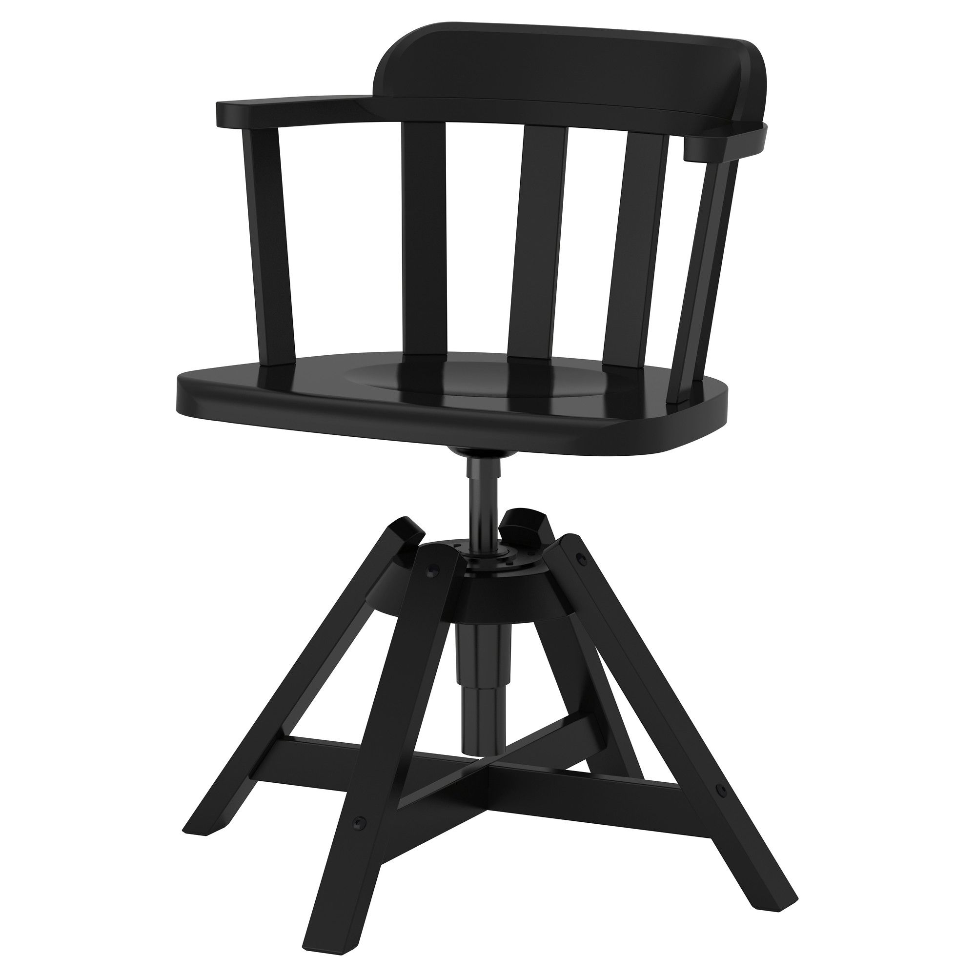 Feodor swivel chair with armrests black from ikea with