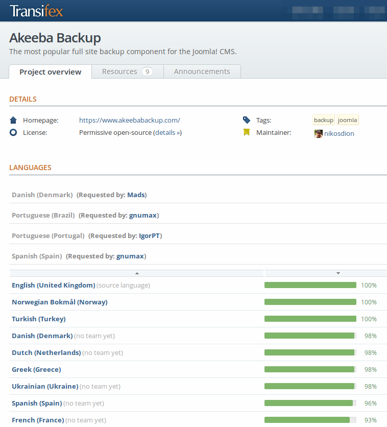 Akeeba Backup The Most Popular Full Site Backup Component For The Joomla Cms Https Www Transifex Net Projects P Akeebabackup