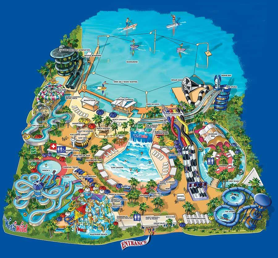 map of wet n wild orlando Wnw Map Wild Water Park Water Park Orlando Orlando Theme Parks map of wet n wild orlando