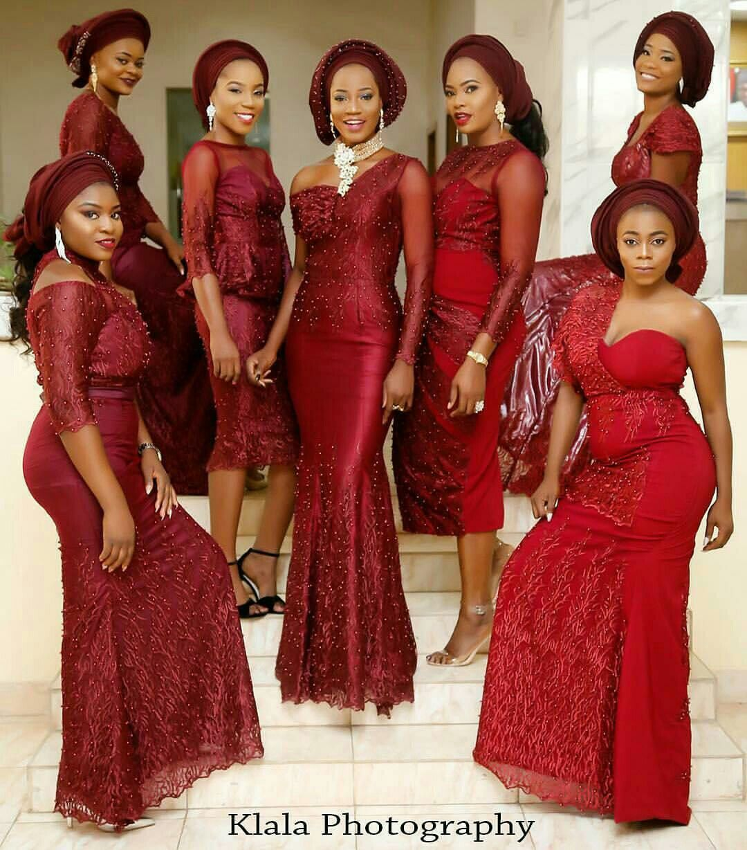 Aso Ebi Things For The Love Of Burgundy Nigerian Bridesmaid Dresses African Lace Dresses African Wedding Attire