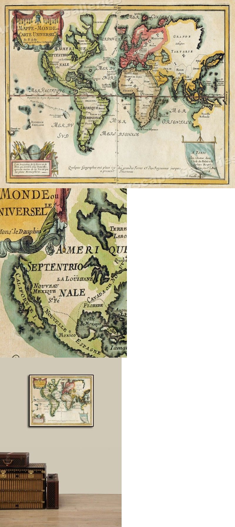 Details About World Map 1705 Vintage Style Decorative Historical Map 16x20 Historical Maps Wall Maps Vintage World Maps