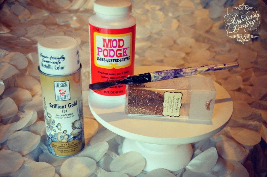 DIY Glitter Cake Stand | Deliciously Darling Events