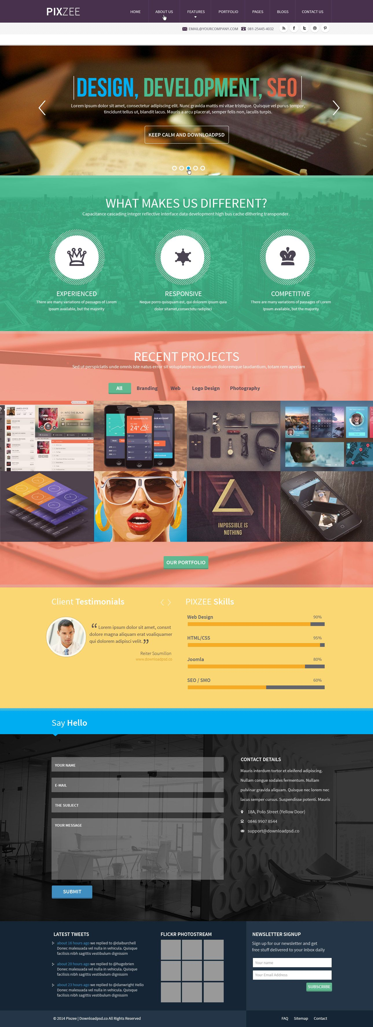 Parallax Website Template Pixzee  Download Pixzeeparallax Singlepage Free Psdfriends