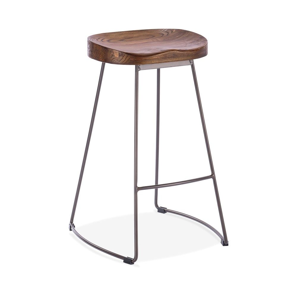Cult Living Victoria Metal Bar Stool with Wood Seat Option - Rustic ...