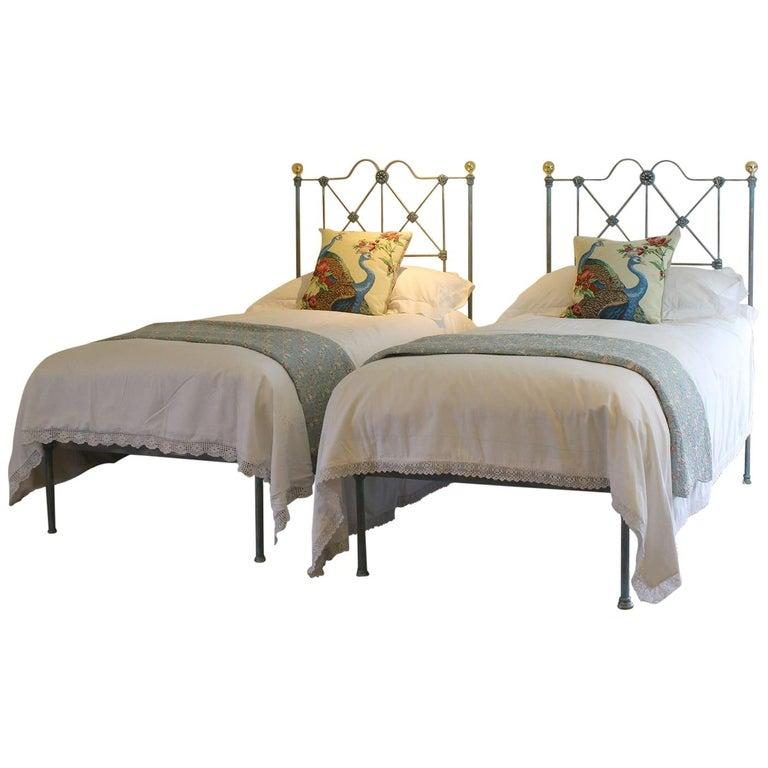 Blue Verdigris Platform Twin Beds Mps28 With Images Twin Bed