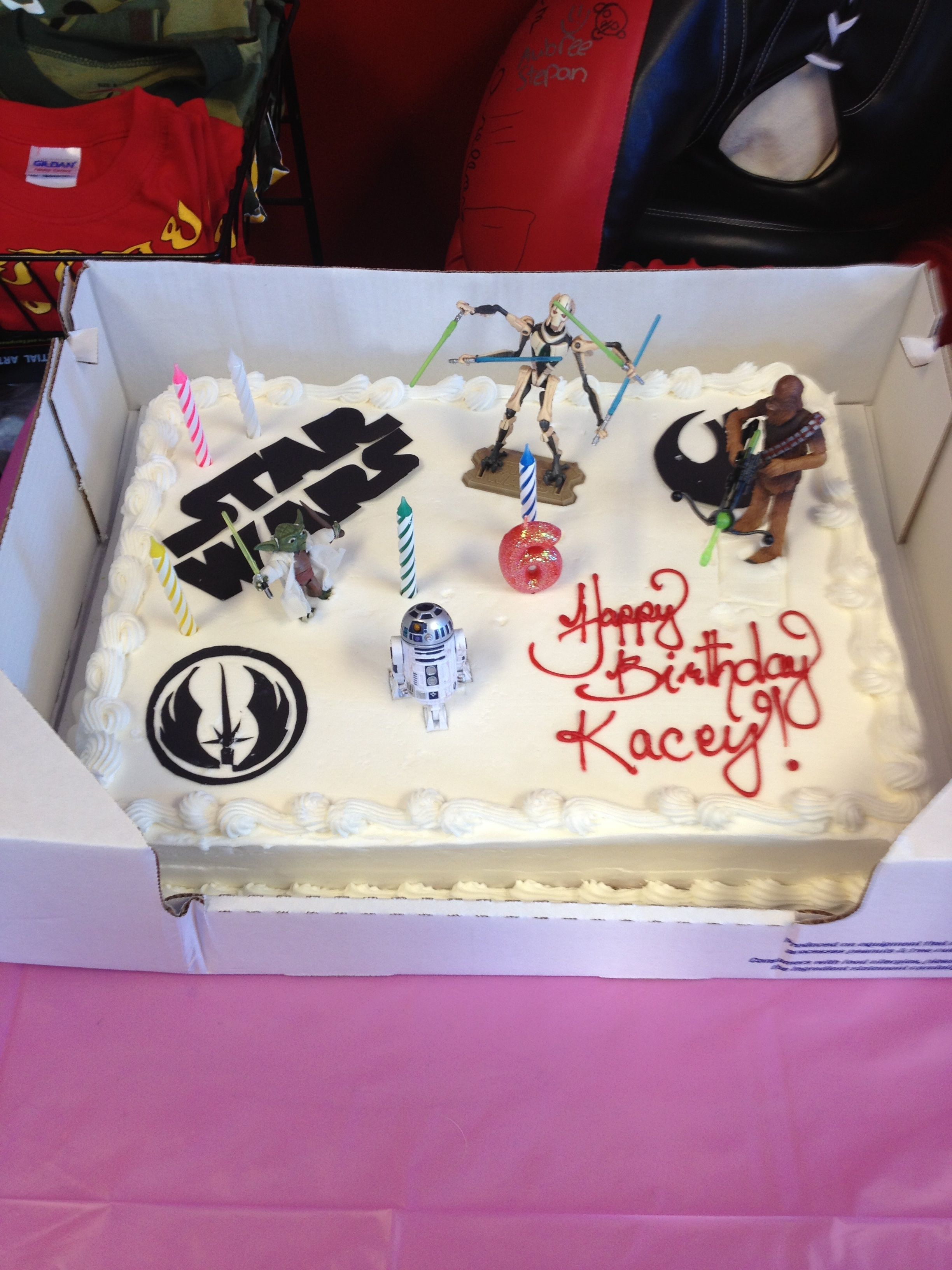Homemade Star Wars Cake Costco Cake With Figurines Sugar Paper