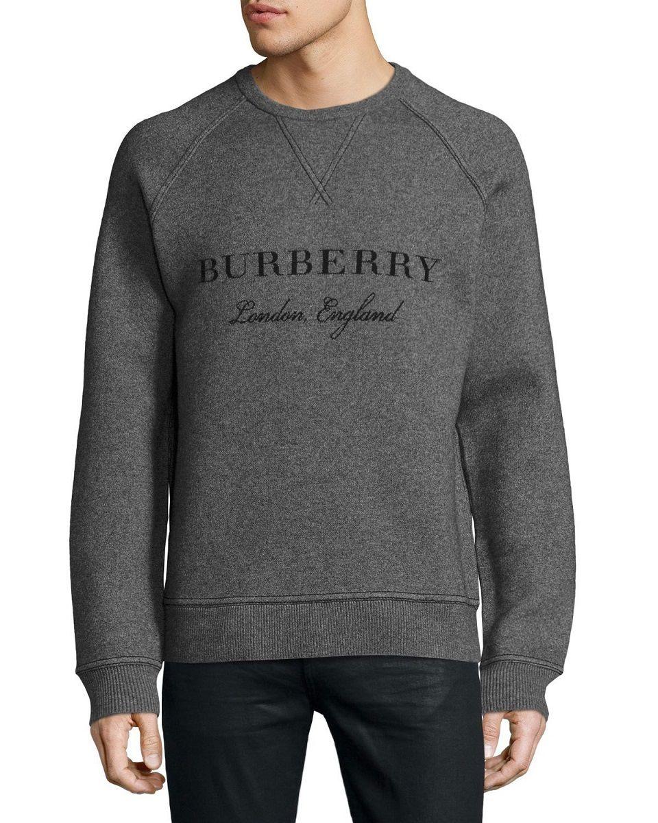 Burberry Belsford WoolCashmere Logo Gray Mens Sweatshirt
