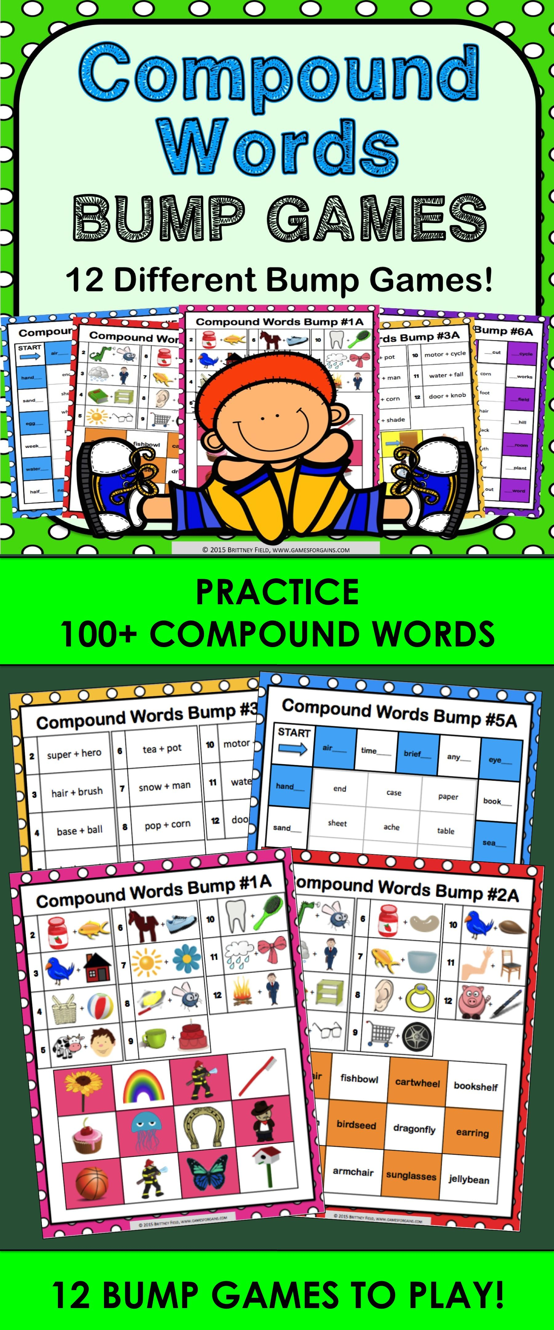 BUMP! Compound Words Activity 12 Compound Words Games
