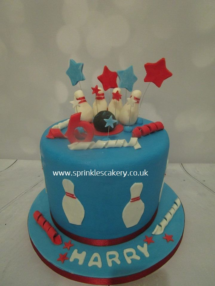 A ten pin bowling themed cake for a 6 year old boy. I made the ...