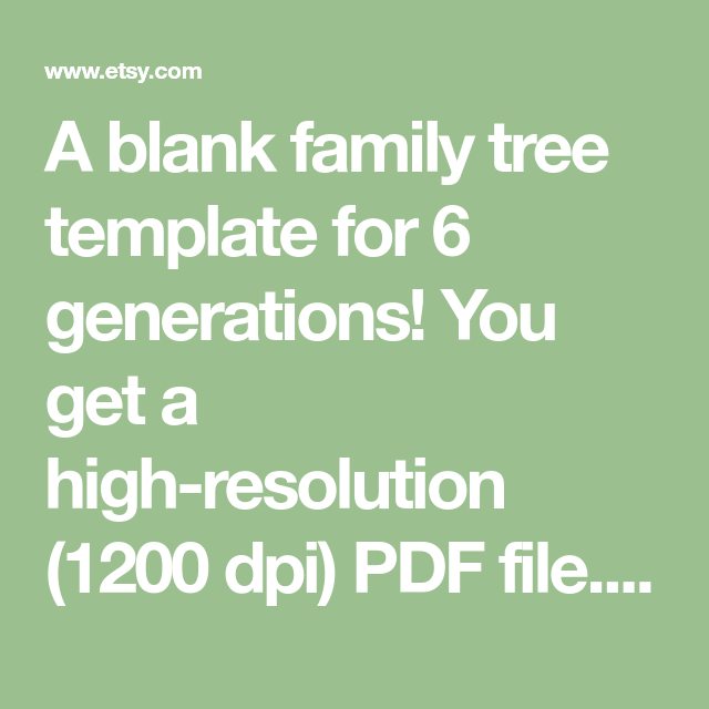 Family Tree Chart Template With Blanks Digital File 6
