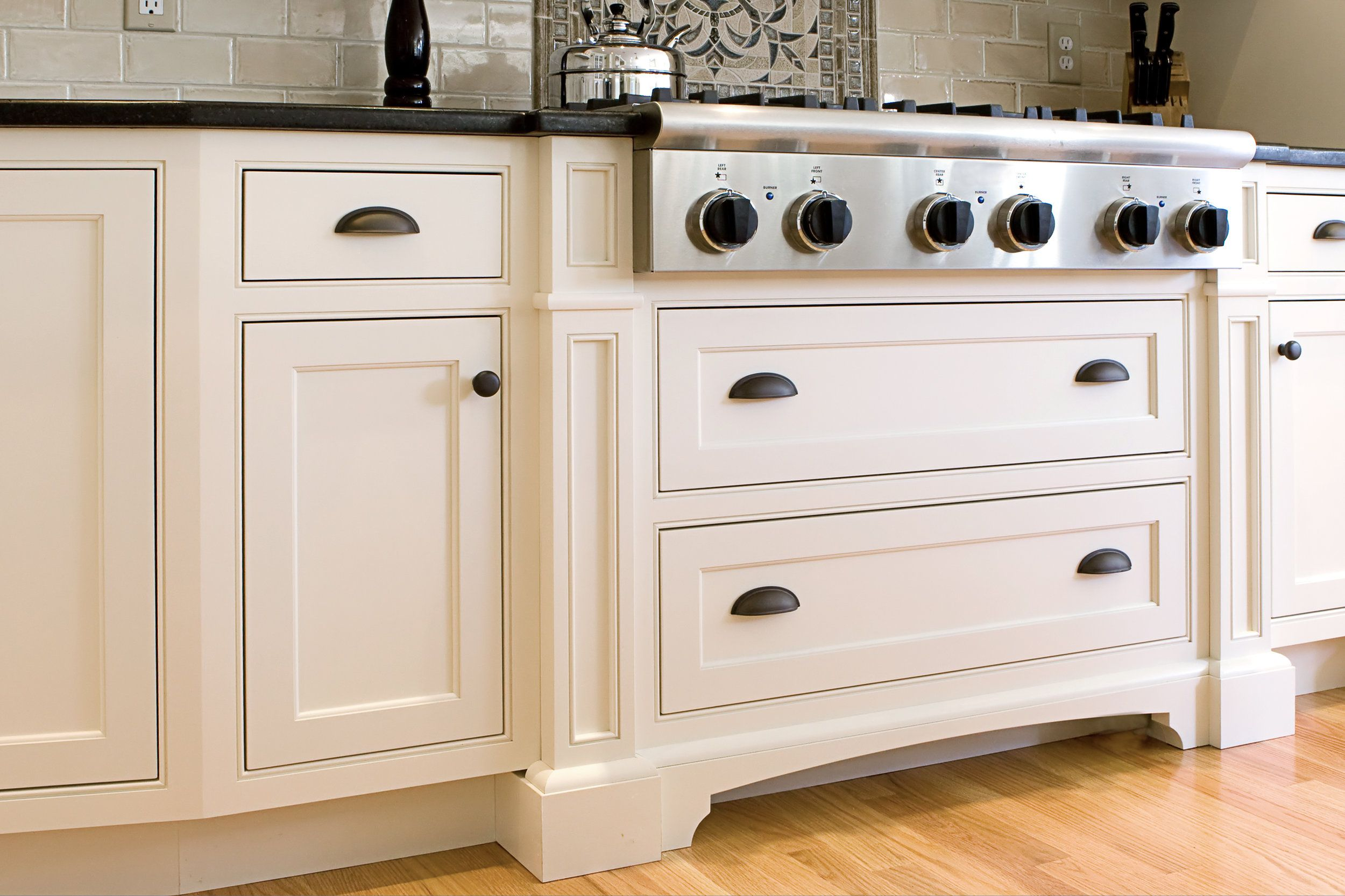 Gorgeous white furniture style kitchen cabinetry with 6 ...