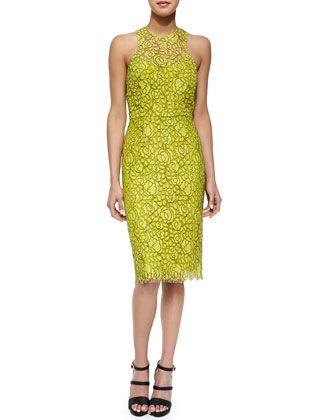 f71a2f8291061 Cutout-Back Floral Lace Sheath Dress