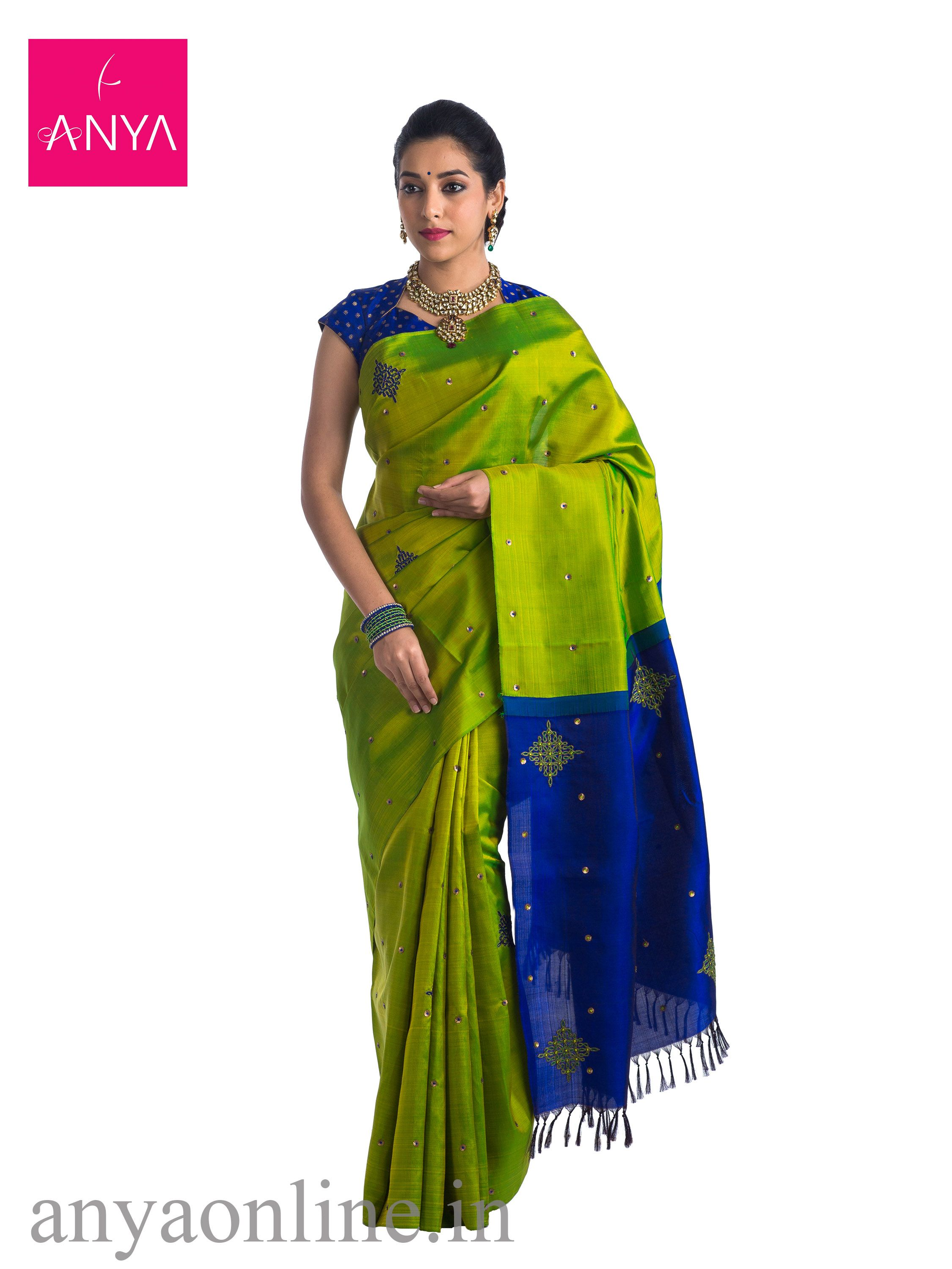 553742c21f2 Anya Boutique provides best collection of Alli green saree with M.s Blue  pallu blouse featuring sequence work and kollam thread weaving Intricate  designs ...