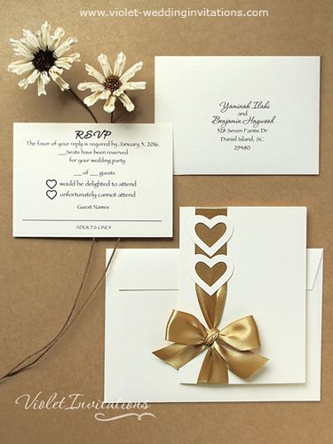 Handmade Gold Ivory Sample Wedding Invitation And Rsvp Love