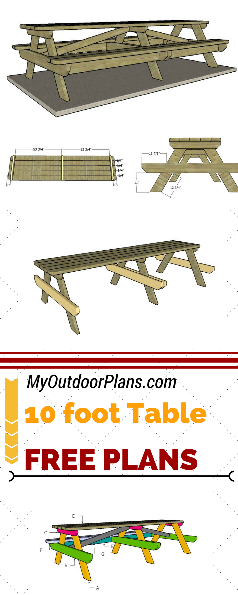Check Out Free Plans For Building A 10 Foot Picnic Table Step By Step Instructions And Detailed Di Diy Picnic Table Picnic Table Plans Woodworking Plans Free