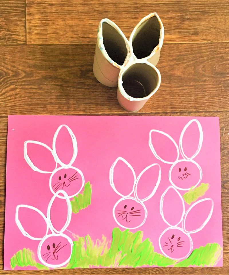 Easter Bunny Craft Homemade Toilet Roll Stamp Crafts Ostern