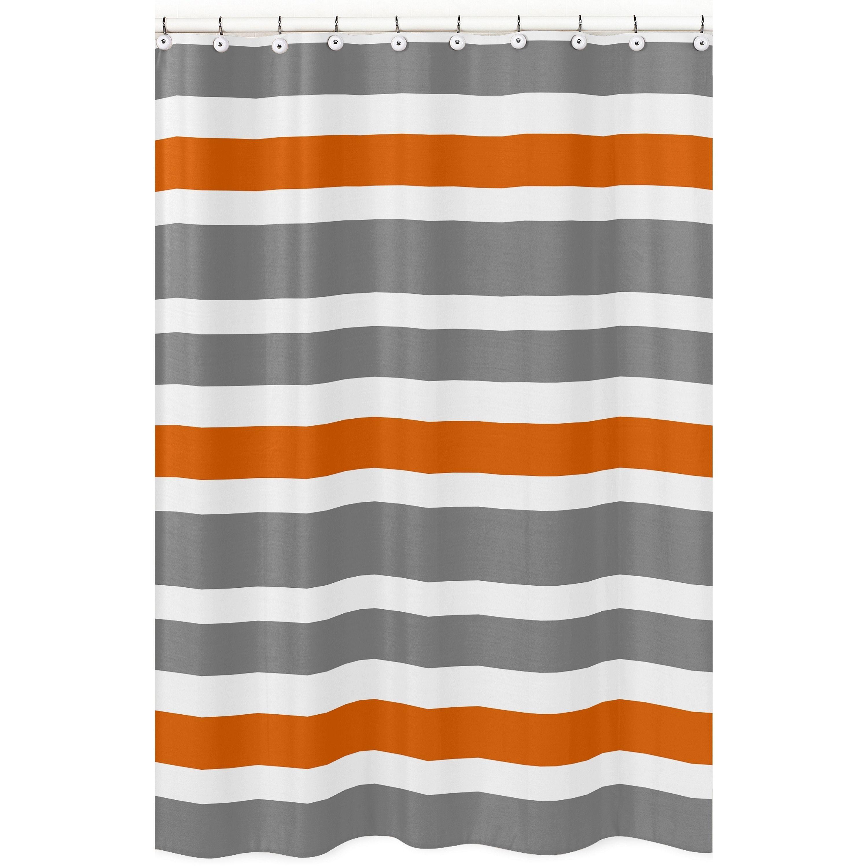 Sweet Jojo Designs Gray And Orange Stripe Shower Curtain Dark White