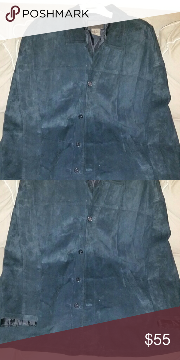 Men's suede jacket Good condition/ spot at the front bottom of the jacket, that's not noticeable in person, or I would not post to sell. the jacket is also washable, instructions r on the tag. Brandon thomas Jackets & Coats