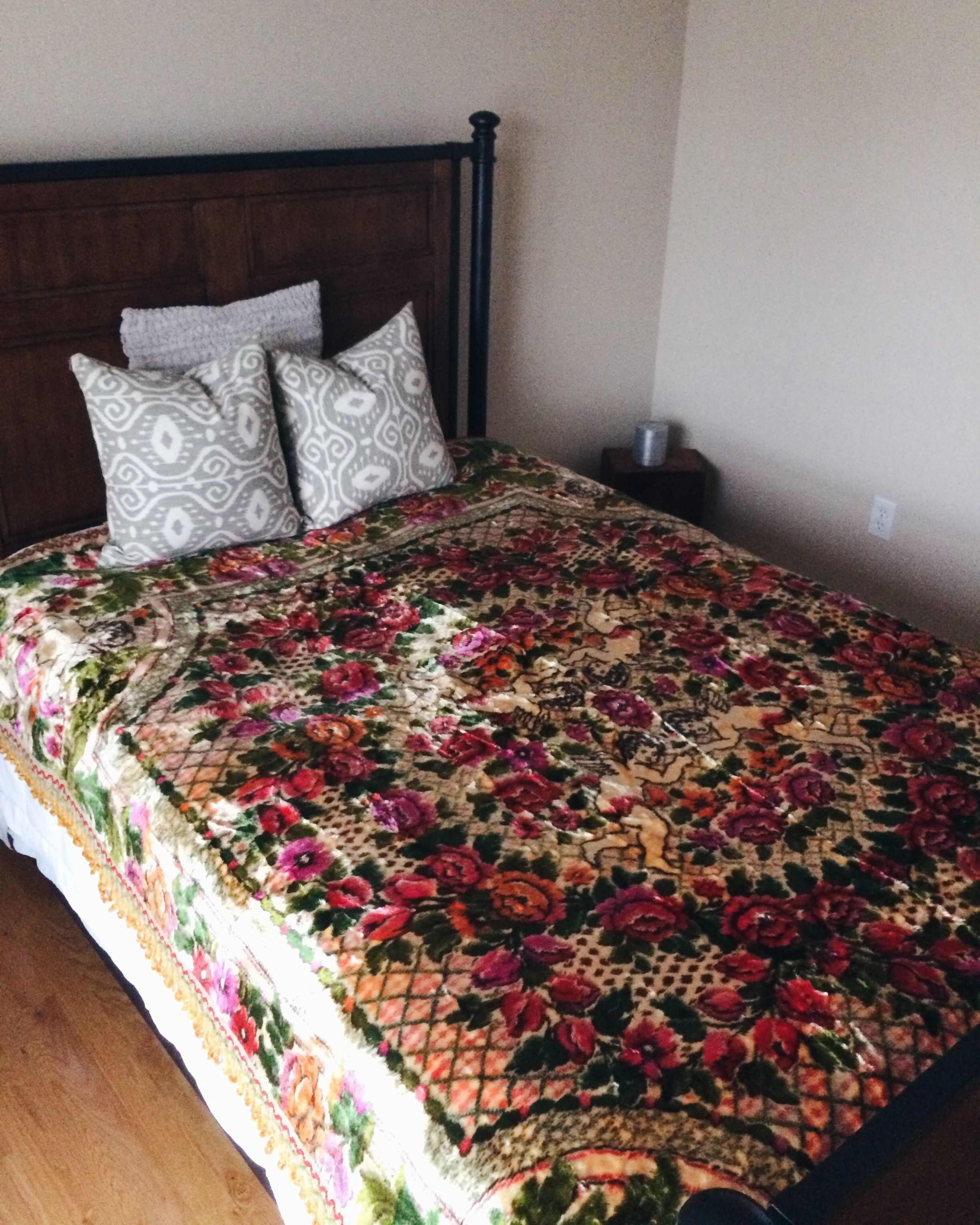Vintage Velvet Italian Bedspread With Roses And Cherubs