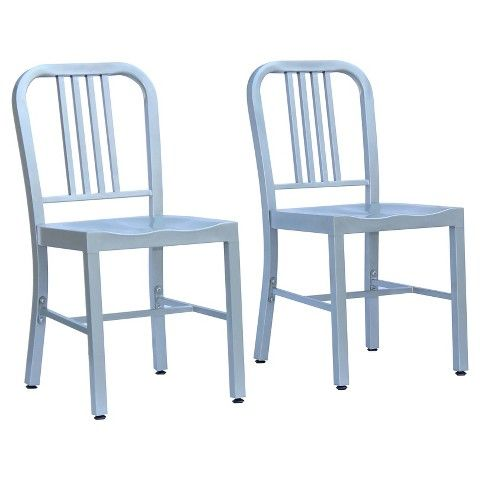 Payton metal dining chair silver set of 2 painted for Different color chairs