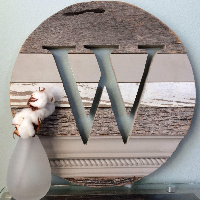 "16"" W Monogram Reclaimed Wood Sign Initial Wall Art Barn"