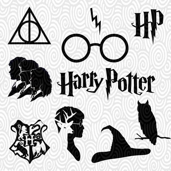 cricut template harry potter silhouette no fill png files cutting machines scrapbooking. Black Bedroom Furniture Sets. Home Design Ideas