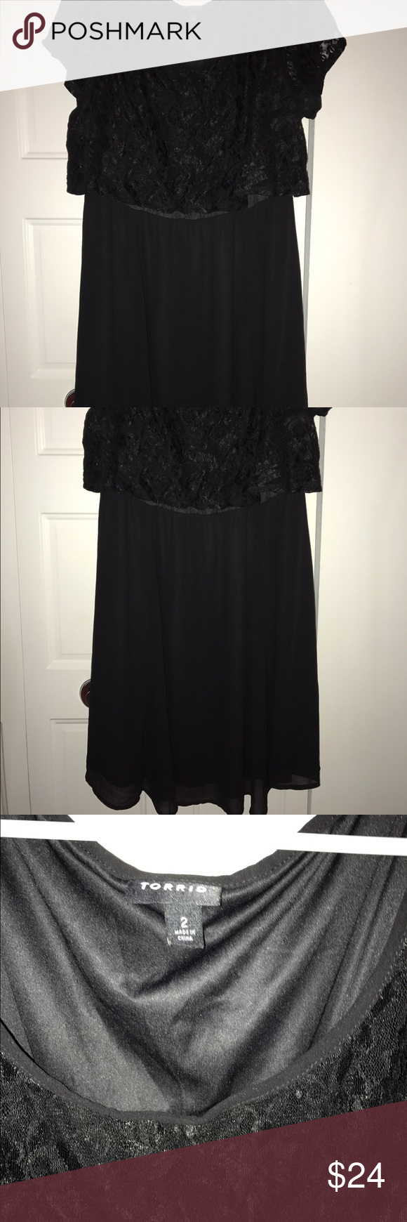 Lace dress torrid  Plus size Torrid black lace chiffon skater dress