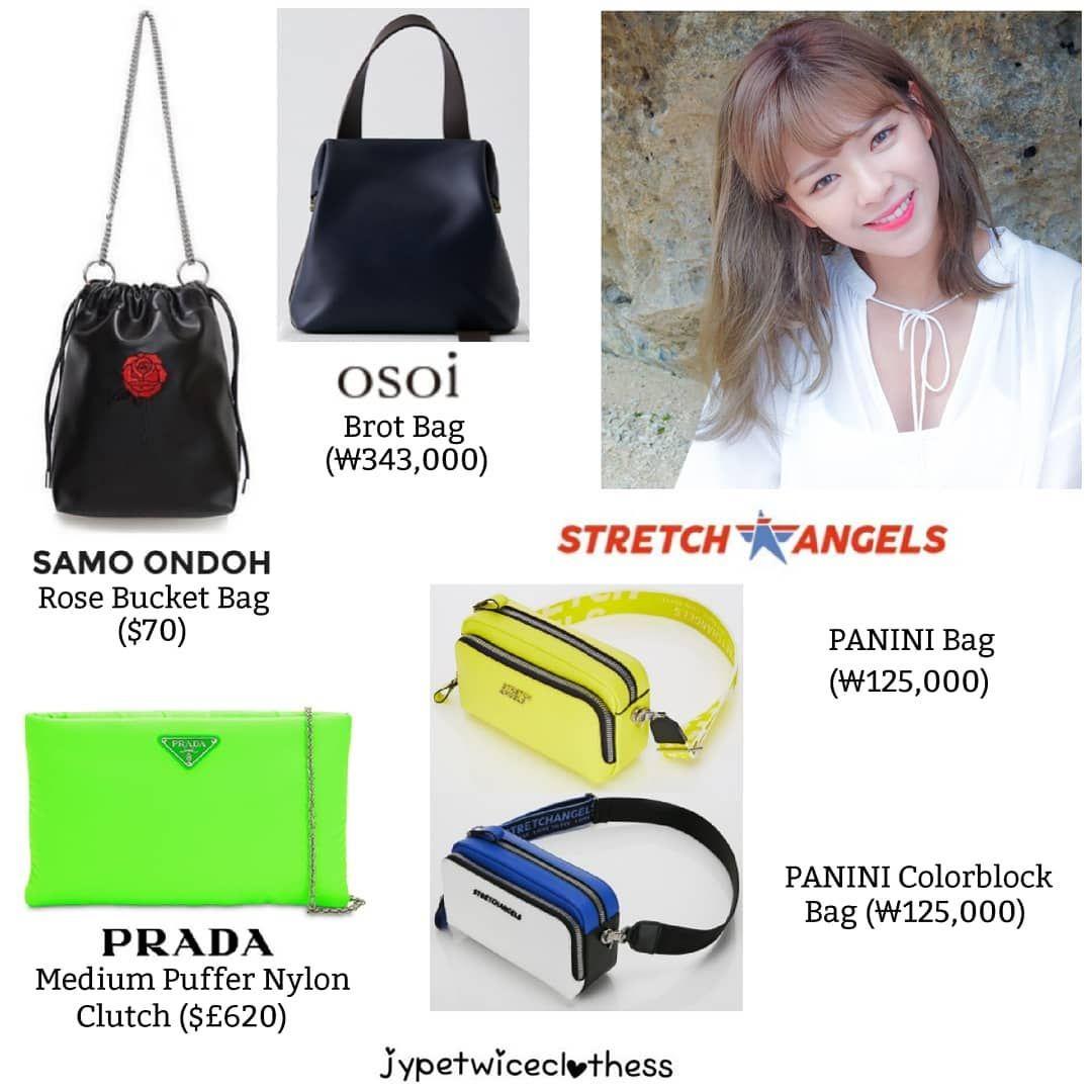 Twice S Fashion On Instagram Jeongyeon Bag Compilation Part 4 Samo Ondoh Rose Bucket Bag 70 Osoi Brot Bag 343 000 Prada Med Puffer Prada Instagram