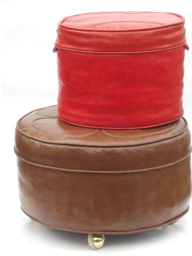 60s 70s Retro Orange Tan Hassocks Round Ottoman Seats Or Foot Stools 150 For Both At A Vintage Shop Round Ottoman Round Stool Ottoman