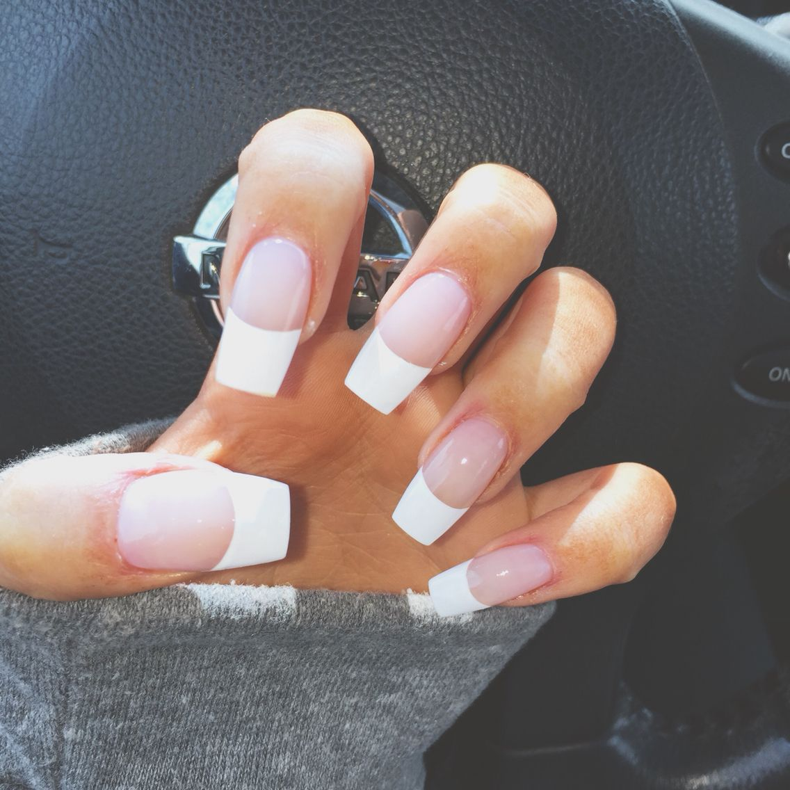 French Coffin Nails French Tip Acrylic Nails French Manicure Nails Prom Nails