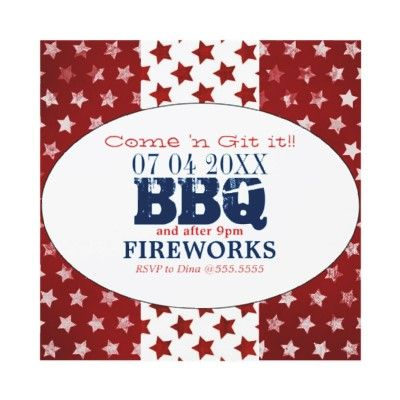 4th of July anyone? Patriotic BBQ and Fireworks Invite by OOPSY_PAPERIE