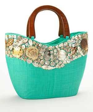 Aqua Seashell Studded Large Tote by Dennis East International #zulily #zulilyfinds