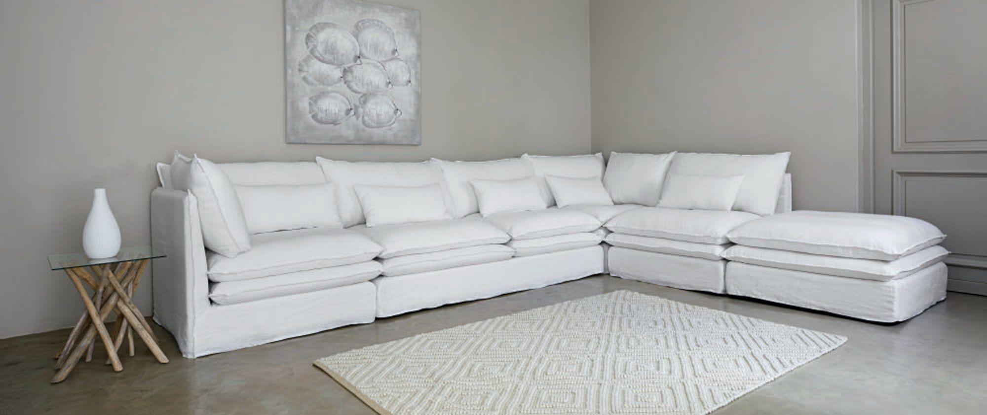 White Linen Corner Sofa Pompei Maisons Du Monde Ecksofa Stralsund