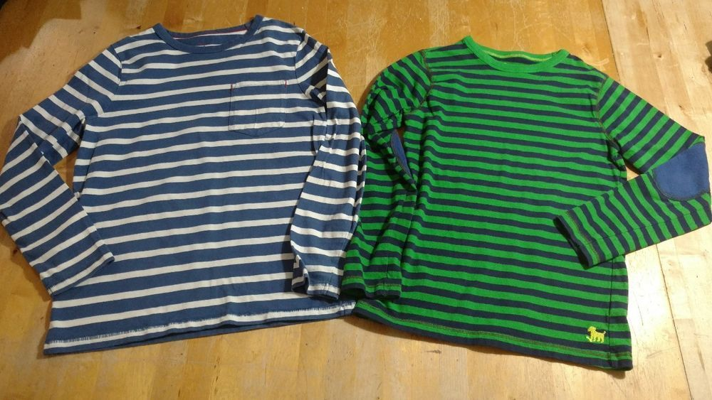 2 Boys Mini Boden Long Sleeve Shirts Top Size 9 10 Striped Back To